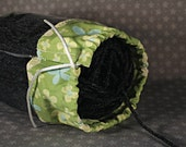 Small Vinyl Yarn Holder -- Leafy Green with Butterflies
