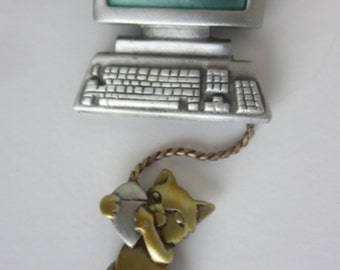 Vintage J.J. Pewter Mouse Error Brooch - Cat Computer Mouse - Collectors Pin - Jonette Jewelry