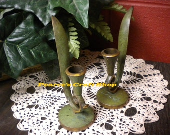 Candle Holders, Vintage Candle Holder Pair, Primitive Country Candle Holders