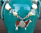 SALE!!!  White - Silver - Crystal Hereford Heifer Necklace