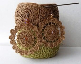 Crochet Earrings - Natural Linen Circle Earrings - Celtic Sun Earrings