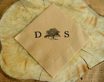 Rustic Personalized Light Burlap Wedding Cocktail Napkins With Southern Live Oak Tree and Large Couples Initials - Set of 50