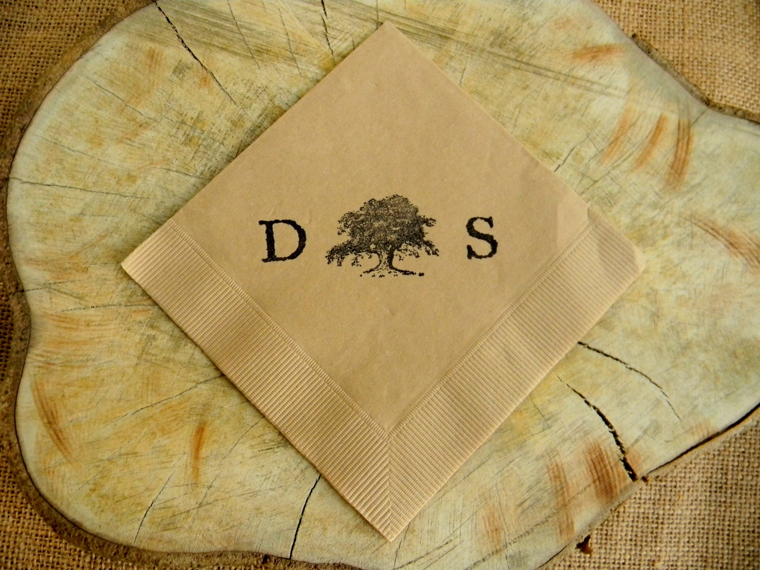 rustic personalized light burlap wedding cocktail napkins with