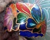 Vintage 1980's Signed David Kuo Champleve Cloisonne Enamel CUFF Bracelet Art Nouveau Jewelry Accessories