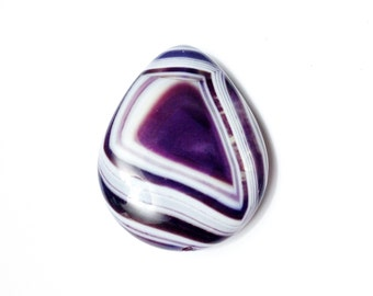 Beautfiul banded Onyx Agate 2 Sided natural gemstone pendant bead - unique look and pattern on each side - purple pendant - teardrop pendant