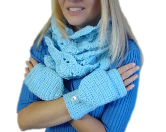Convertible Fingerless Circle Scarf Set Light Blue Crochet, Hand Dyed Winter Scarf Set, Baby Blue Infinity Scarf, Winter Mitten Set