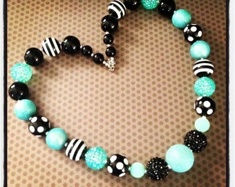 Teal and Black Chunky Bead Necklace...Necklaces...Childrens Jewelry...Chunky Beads...Jewelry...Girls Necklaces