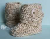 Baby Boots, Crochet, Double Button, Newborn, Any Color