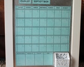 MEDIUM Calendar with White Wood Magnet Board Frame.  Choose Calendar Color Print.