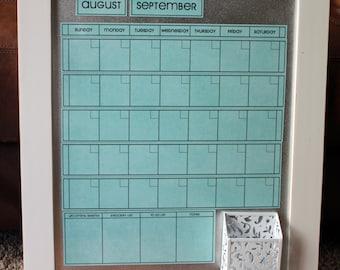 Medium AQUA Dry Erase Perpetual Calendar -- **You pick Frame Color & Font