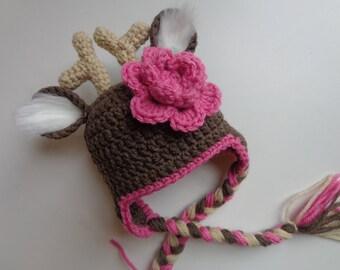 Newborn Crochet Girl Deer Hat Photo Prop Baby Girl