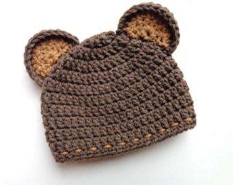 Newborn Crochet Bear Hat- Photo Prop- Boy or girl