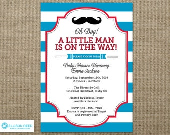 Little Man Invitation - Mustache Invitation - Little Man Baby Shower invitation - Mustache Baby Shower Invitation - Mustache Printable - Boy