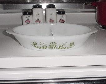 Vintage Glassbake Divided Casserole Dish