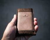 Nexus 6P -  Wallet Sleeve / Case - Caramel Brown Wool Felt and Leather