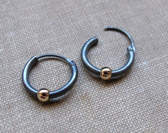 Black Earrings with Gold Bead for Men, Mens earrings, Unisex Huggie Hoop Earring, Dark Sterling Silver Jewelry, Gold Filled Ball, Mens Hoops