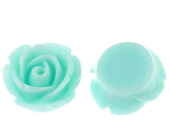 10pcs Cyan Rose Flat Back Resin Cabochons - 11mm - Embellishment, Cameo, Jewelry Finding, Jewelry Making Supplies, Ships from USA - R136