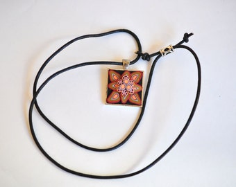SALE! Floral Square Pendent with Geo Design  Polymer Clay