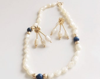 Vintage 14k Genuine Pearl Bracelet & Pearl Earring Set, Keshi Pearl tennis bracelet, Bridal Jewelry