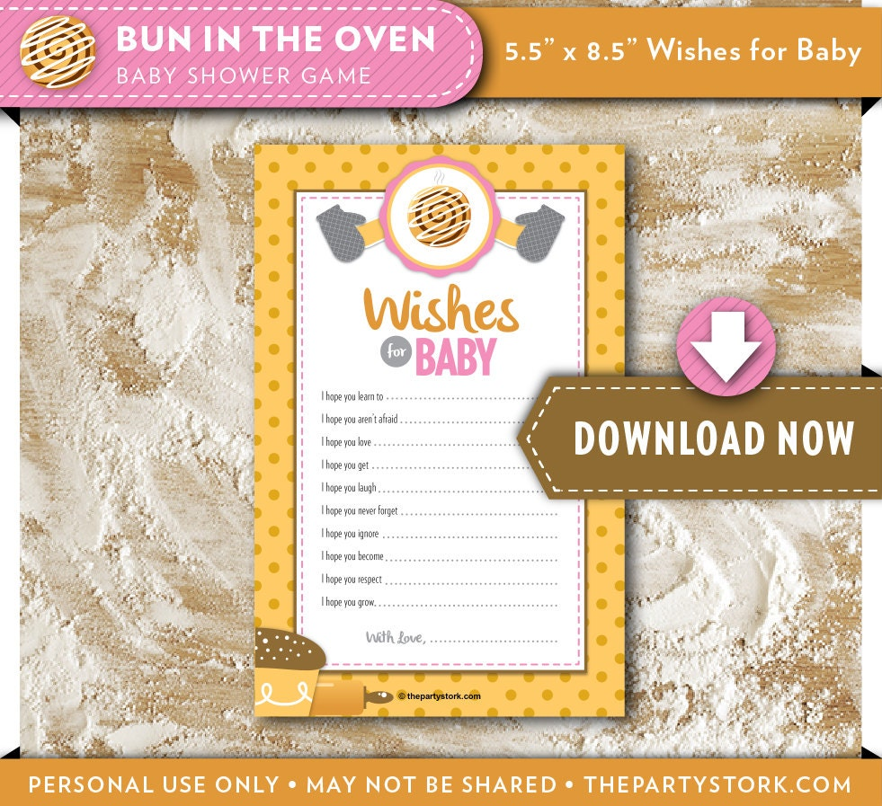 wishes for baby printable card bun in the oven baby shower