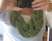 Crochet Braided Scarf- Cowl, Infinity, any color