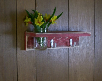 Distressed Wood Coat Rack Key Hanger Hooks with Shelf and Flower Vase