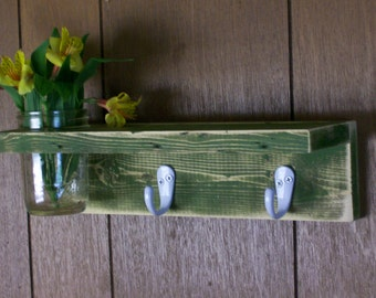Shabby Coat Hanger Wood Shelf  with Vase