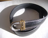 Philippe Charriol Celtic French Black Leather Embossed Mens Luxury Belt
