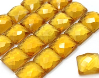GCF-1339 - Citrine Faceted Cabochon - Square 6x6mm - AA Quality - Package Of 4 Pcs