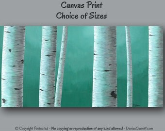 Wall art Large, Birch tree painting - Canvas art print, Teal home decor, Office decor, Teal green Gray, Bedroom decor master, Oversized XXL