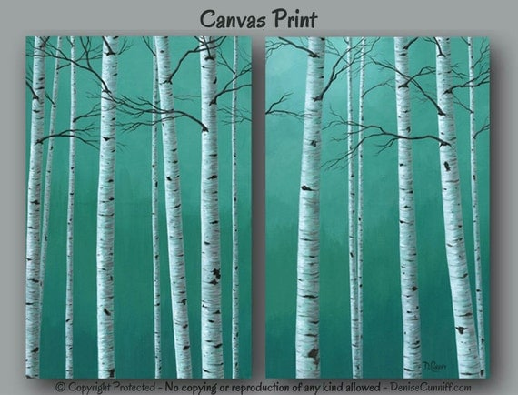 teal wall birch tree painting canvas print by artfromdenise