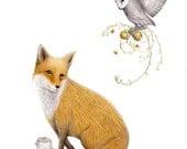 The Fox and the Owl - Fairytale Art Print