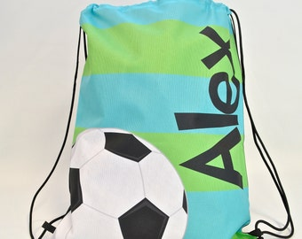 Personalized Drawstring Backpack - Soccer - Personalized Kids Drawstring Bag