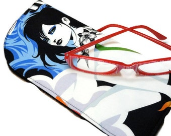 "FReE SHIPPING~~Priced 50% Off~~~Eyeglass Case~Large 8"" x 4""~ Sun Glass Case or Readers Cover. Inked Tattoo Girls~~~READY to SHIP~~~~"