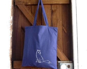 Inari Fox Screen Printed Tote, Organic Tote Bag, Hand Printed, Fox Illustration, Shopping Bag, Canvas Bag, Beach Bag, Eco Friendly Tote,