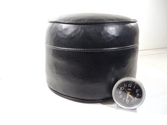 Round Ottoman Hassock Faux Leather Pouf By Perfectpatina