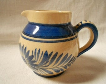 HB Quimper Vintage French Handpainted Blue Floral Creamer / Pitcher (A965)