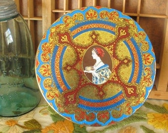 Vintage Hostess Fruit Cake Round Tin with Renaissance Design and Woman Serving