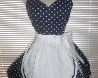 French Maid Apron Pin-up Retro Style Navy Blue and White Polka Dots Flirty Skirt Sweetheart Neckline