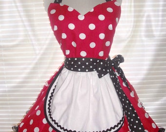 French Maid Costume Apron Red with Big White Polka Dots and Black Trimming Pin-up Retro Style Flirty Skirt Sweetheart Neckline