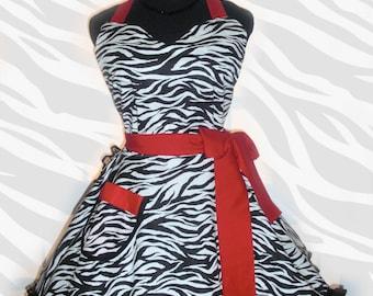 Sexy Black and White Zebra Print Retro Apron Classy Little Black Apron Circular Skirt