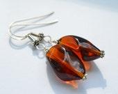 Cognac Amber Czech Glass Sterling Silver Dangle Earrings, Bohemian Long Beaded Earrings