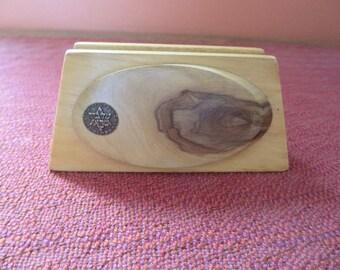 Israeli Olive Wood Letter or Napkin Holder Commemorative Coin  Mid Century Rare