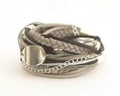 Gray Black Bohemian Wrap Bracelet, Silver Gray Black Boho Bracelet, Gypsy Bracelet, Bohemian Jewelry, Women Jewelry, double wrap, boho chic