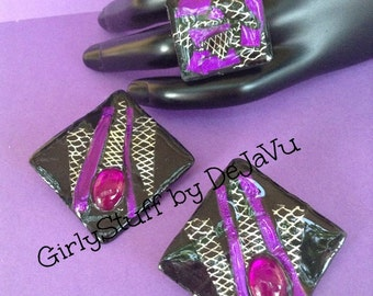 80's Style Earrings & Ring Set, black/purple/silver, metalic colors, silvertone adjustable ring base, handmade, OOAK, made in Greece