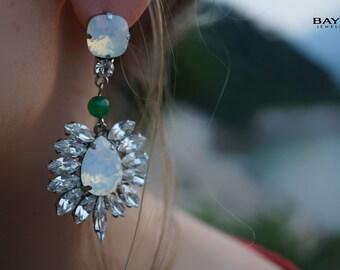Odette - Opal Swarovski Crystals Statement Earrings - Ready to Ship