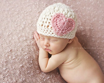 Newborn girl hat, newborn valentines prop, newborn girl photo prop, baby girl clothes, coming home outfit, baby girl hat, pink heart beanie