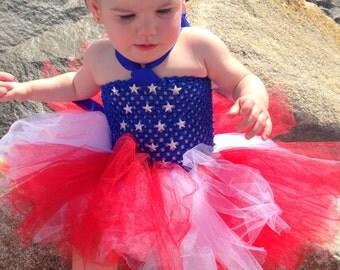 Little Miss America Stars & Stripes Tutu dress sizes  9-12m, 12-18m, 18-24m, 2t, 3t, 4t, 5t