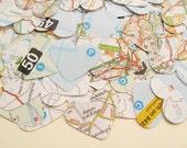 500 Confetti Map Atlas Hearts - Wedding Travel Vintage Decor - Heart Die Cut, Wedding Favours