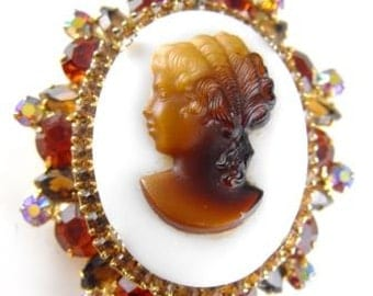 Rhinestone Cameo Brooch Pendant Convertible Faux Tortoiseshell Possible D&E aka Juliana Jewelry